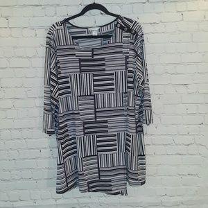 CJ Banks 3/4 length sleeve faux wrap tunic sz 2X